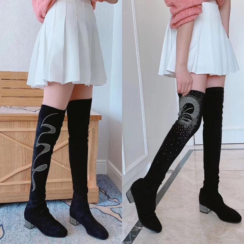 2020 New cristal decor botas longas Sock por Mulheres Flock Botas Elastic tubo Salto Praça Sexy Moda Calçados Mulheres