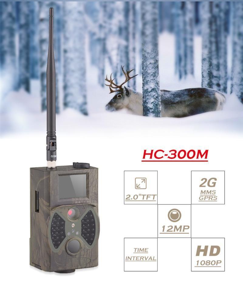 Caméra Trail Chasse IR Garde Scout 12MP 1080P photo Piège HC300 Caméra sauvage 2G GSM MMS photo-pièges de chasse Chasse