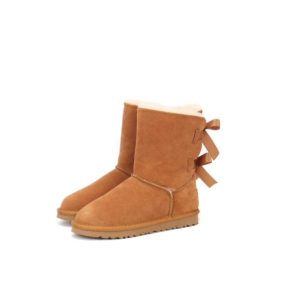 Winter Womens Shoes Warm Bow Snow Boots Waterproof Thick Soled Non Slip Round Toe High Quality Suede Winter Ladies Casual Shoes#764