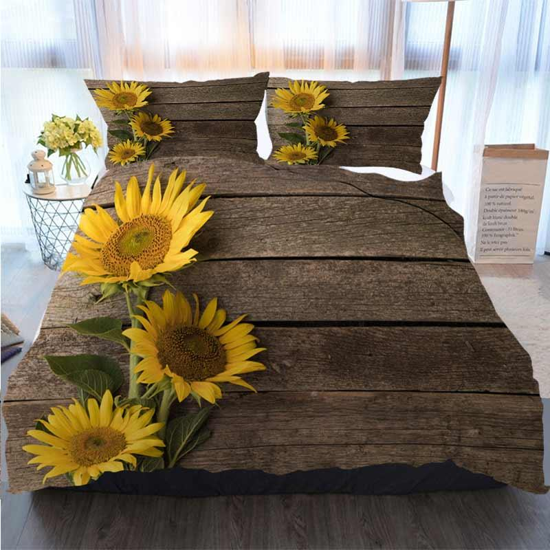 Cama 3 peça edredon cobrir Define Girassóis no antigo Fundo de madeira espaço para o texto capa de edredão Edredons Designer Cama Sets