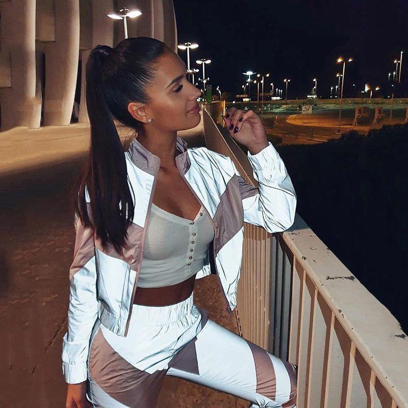 2020 Moda riflettente due pezzi del nuovo delle donne Set da jogging Casual pantaloni Donne Sport Zipper Suit Pant Jk110