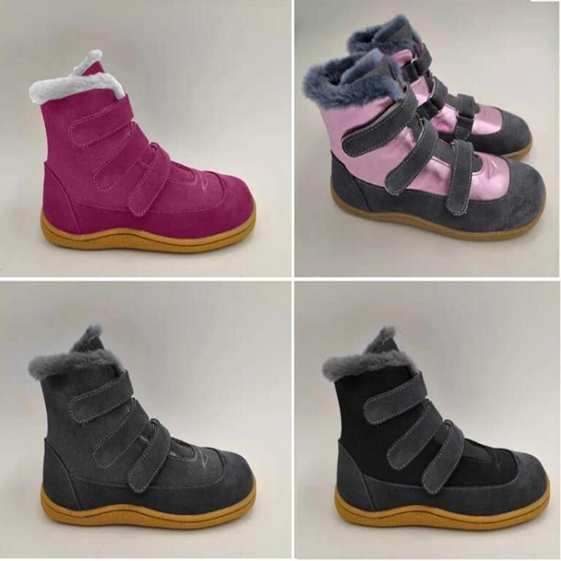 Tipsiesoes Top-Marke Barefoot Echtes Leder Baby Kleinkind Mädchen Junge Kinder Schuhe für Mode Winter Schnee Boots 201110
