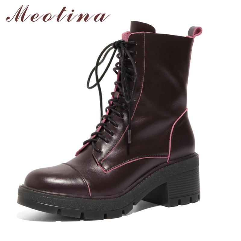 Botas Meotina Tornozelo Mulheres Sapatos Genuíno Couro Alto Calém Motocicleta Lace Up Zip Grosso Saltos Curto Lady Outono Brown