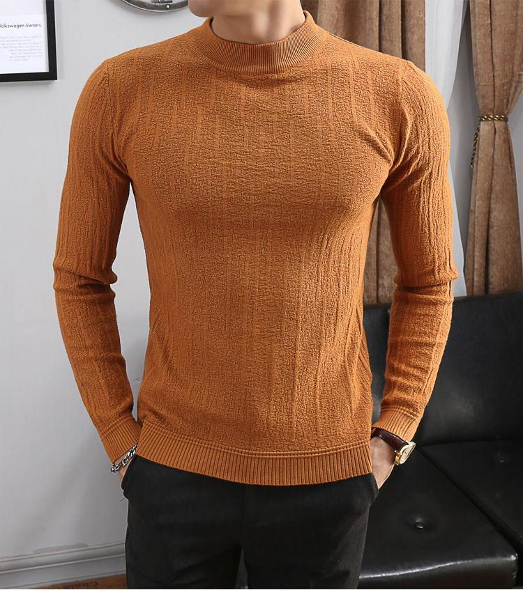 2021 Hochwertige neue koreanische mode männer pullover straße tragen beiläufige dünne langärmelige gestrickte pullover dicker o-neck im winter