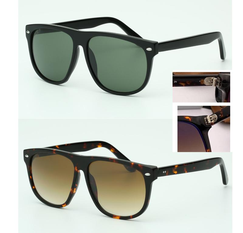 gris 2021 diseñador de moda de gran tamaño Gafas de sol de gran tamaño para hombres de la marca Mujeres Top Lente de cristal 60mm Vidrios Vintage Nuevo UV400 Calidad sol GAFA OKQD