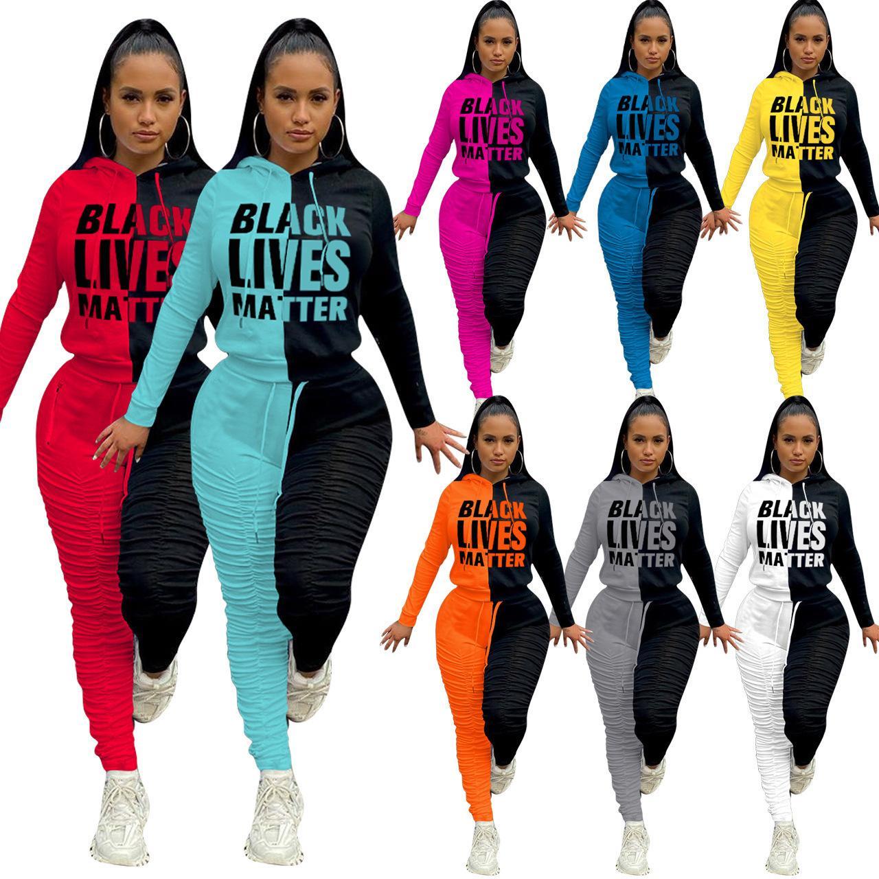 가을 여성 두 조각 복장 스포츠 tracksuits 오프셋 스티치 스티치 pleated 바지 패브릭 두꺼운 sportsuit 컬러 인쇄 조깅 슈트