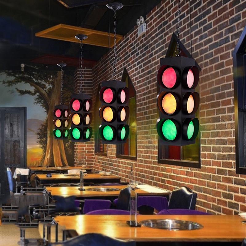 pingente de mesa de bar estilo restaurante lustre de café industrial criativo decoração personalidade Tráfego da retro ligh aviso luz