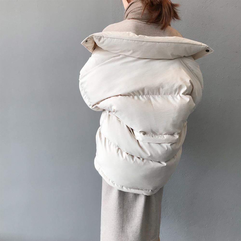Kış Ceket Kadınlar Casual Polyester Tek Breasted yastıklı Coat Sıcak Femme Parkas Siyah Kore Stil Sonbahar Giyim 201110