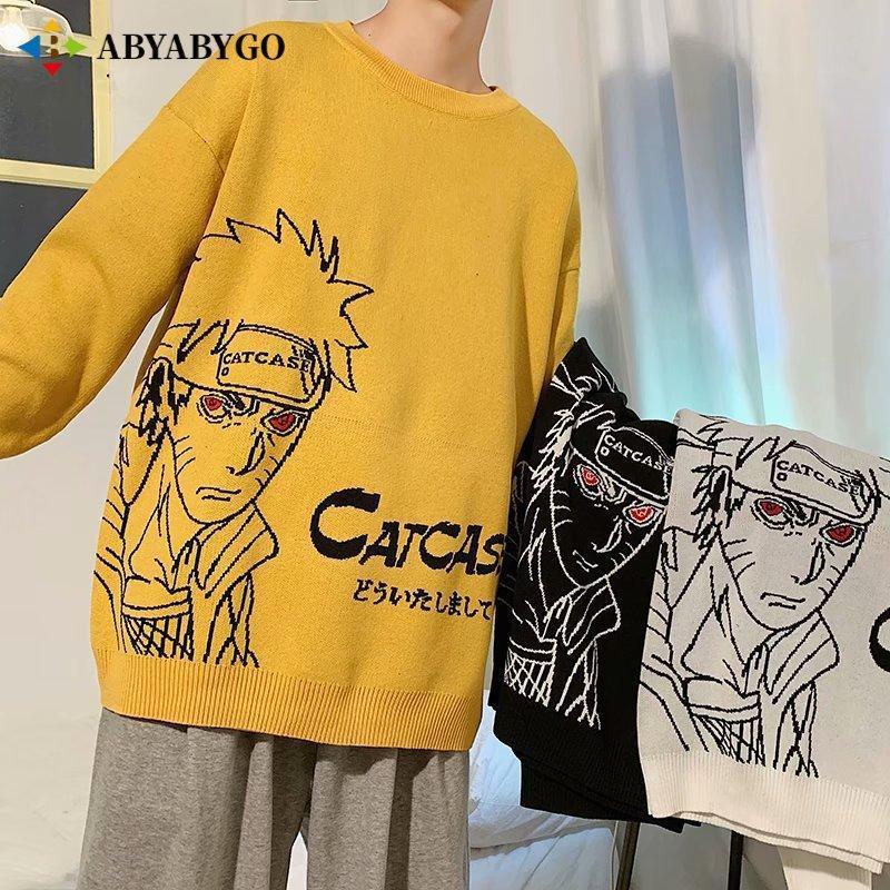 Yeni Gelenler HARAJUKU NARUTO Anime Kazak Erkekler Büyük Boy Kazaklar Hip Hop Moda Sonbahar O Boyun Örme Kazak Erkek Giysileri