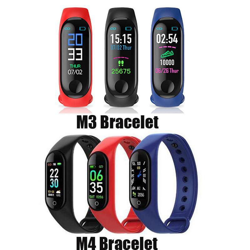 M3 M4 Smart Band Tracker Fitness Tracker Sport Bracelet cardiaque Récompense cardiaque Smart Watch 0.96inch Smartband Monitor Moniteur Santé Bracelet de santé PK MI Bande 4