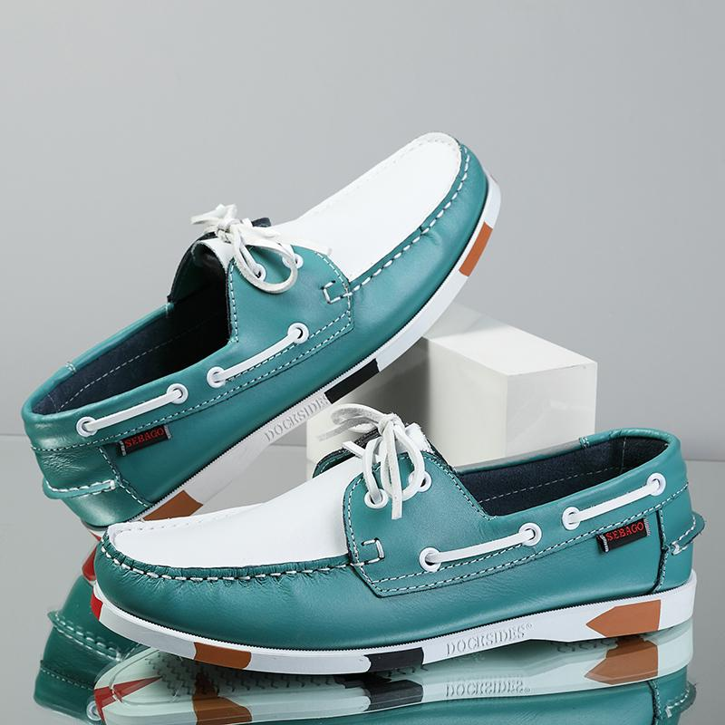 Hombre Casual Genuino de gamuza Cuero Docksides Classic Boat Shoes Mocasines Zapatos Unisex Zapatos hechos a mano de alta calidad 201212