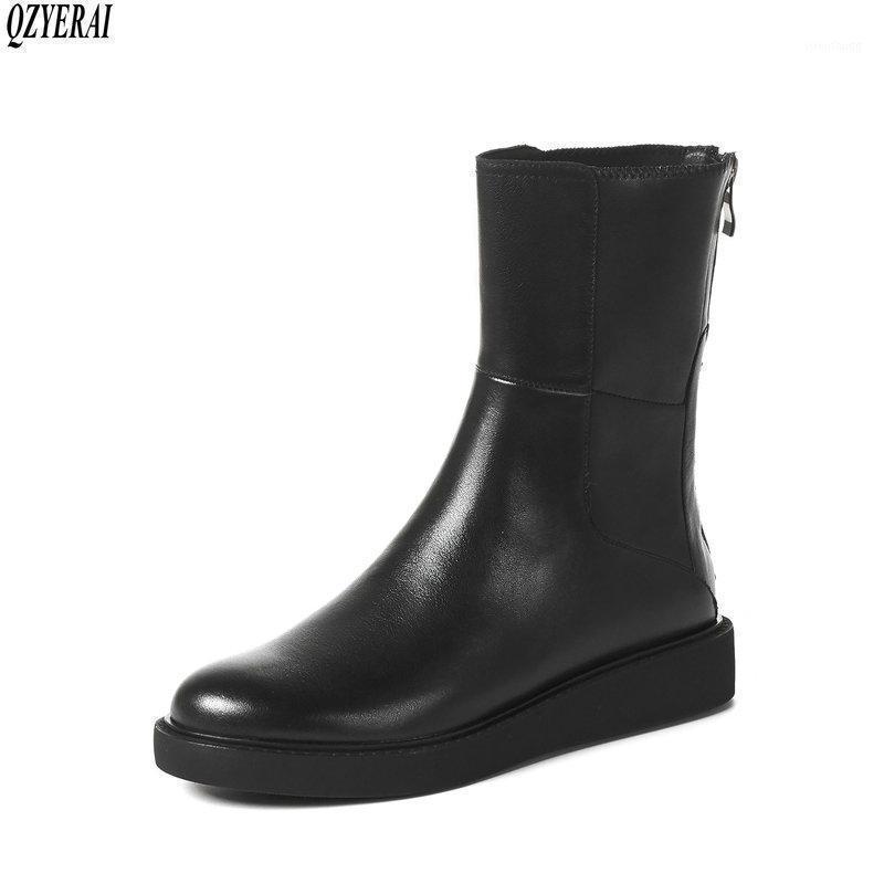 Qzyerai nuovo stile stivaletti in vera pelle stivaletti femminili stivali da donna 3 cm con scarpe da donna in vacchetta nera inferiore1