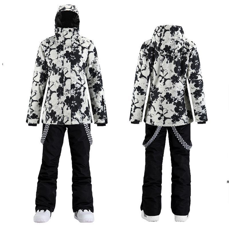 Skiing ternos smn ski terno para mulheres inverno ao ar livre à prova de snowboard quente aquecido jaqueta espessada calças de neve esportes conjunto alpino