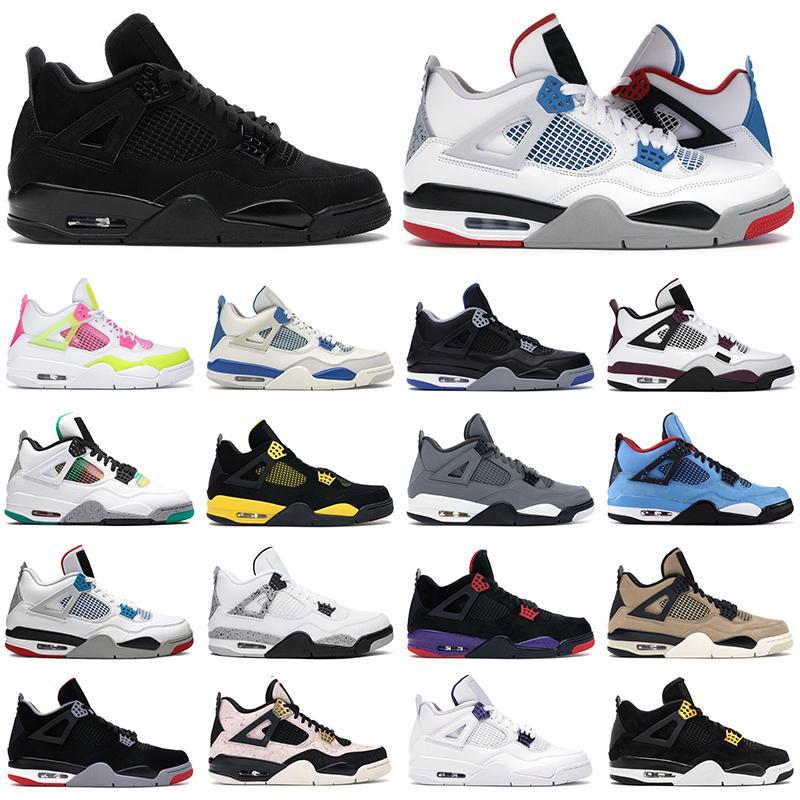 2020 sapatos de homens de basquete jumpman 4S Black Cat Dinheiro angorá branco Homens de cimento as sapatilhas das mulheres ao ar livre esportes sapato da moda