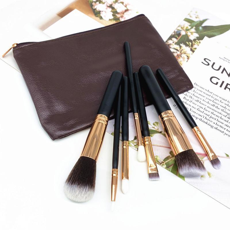 Portátiles de maquillaje de 7 piezas portátiles conjuntos de cepillo cosmético cepillo de ojos Eyeshadow Eyeliner maquillaje Kits de cepillo con bolsa de cuero PU