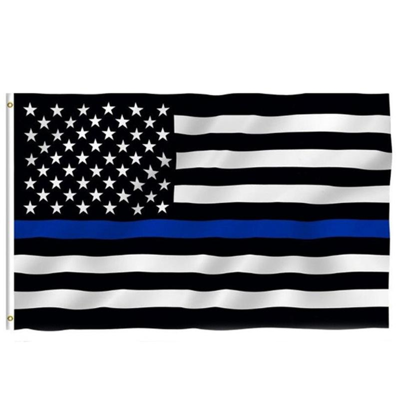 Thin Blue Line Flag American Police Flags 3x5FT USA General Election Country Banner for Trump Fans W77