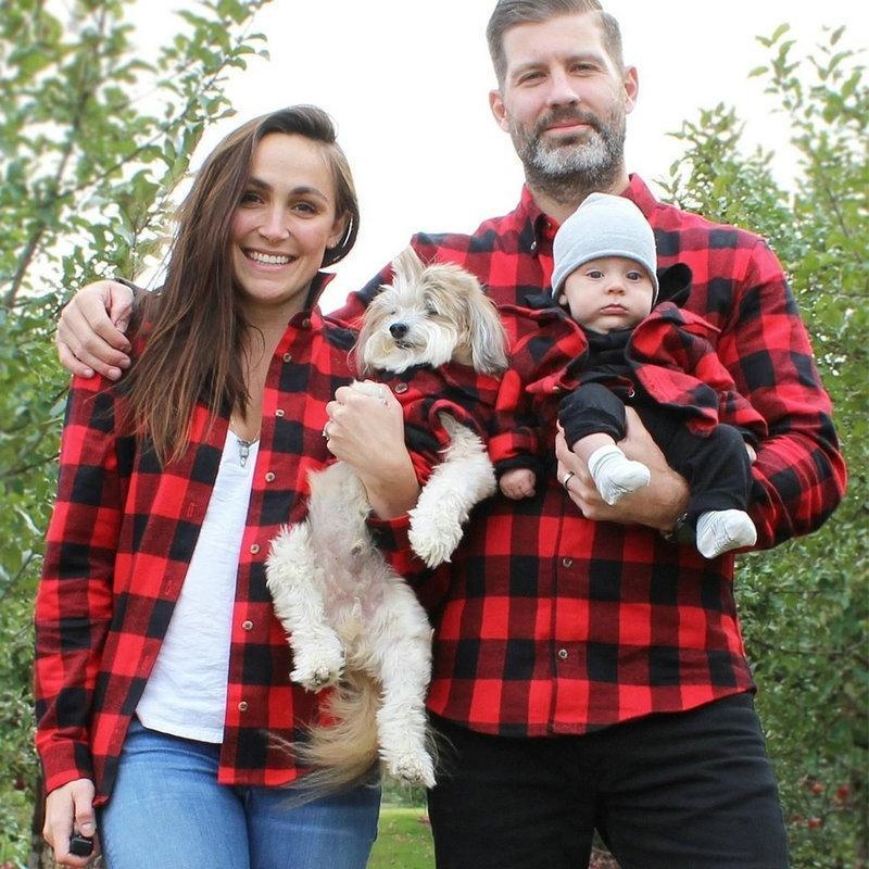 Мать дочь детская одежда семьи сопоставление нарядов отец сын футболка плед рубашка мама мама и дочь девушка красная толстовка 201128