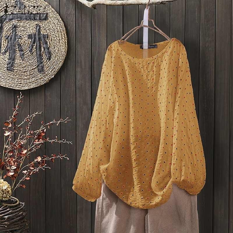 Lässige Tunika-Frauen-Herbstbluse Zanzea-Weinlese-Tupfen-gedruckte Hemden Langarm Blusas weibliche Falten-Chemise übergroß y200622