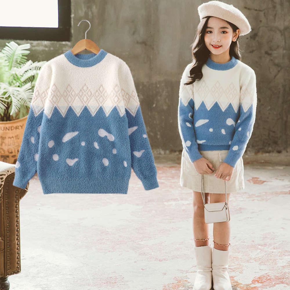 Pullover mink fce base coat Girl's sweater new autumn drs foreign sle children's wear