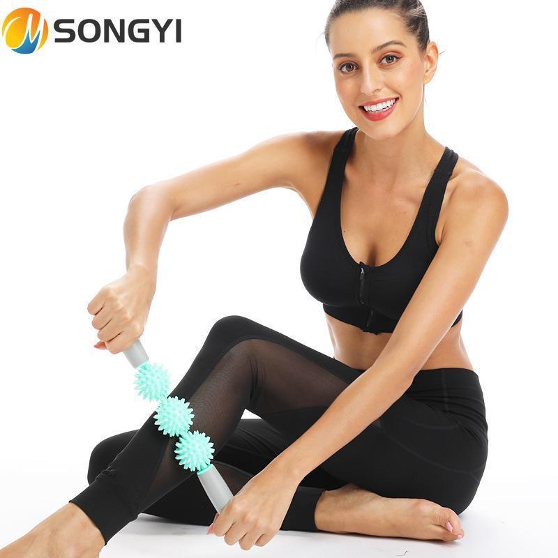 Songyi Muscle Massage Massage Relax Tool Fitness 3 шарики тренажерный зал мышечный массаж ролик ролика йога роликовых палочек круглый шар Y46