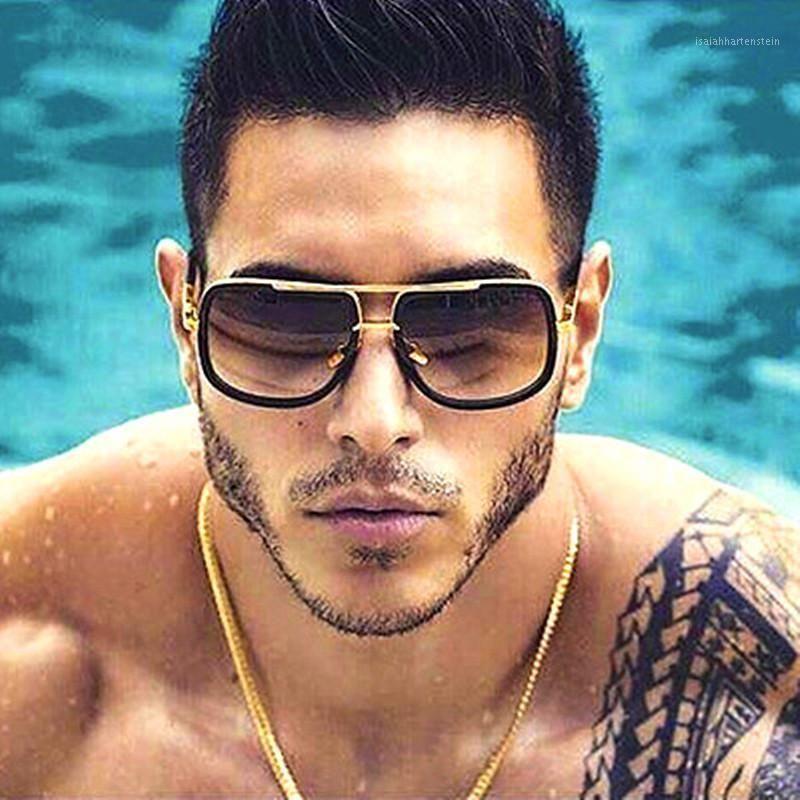 Rideau Oculos Gafas de Sol Hombre 2019 Nouveaux Sunglasses Hommes Trend Grand Cadre Rétro Lunettes De Soleil Verres Mode Hommes et Femmes Métal Lunettes1