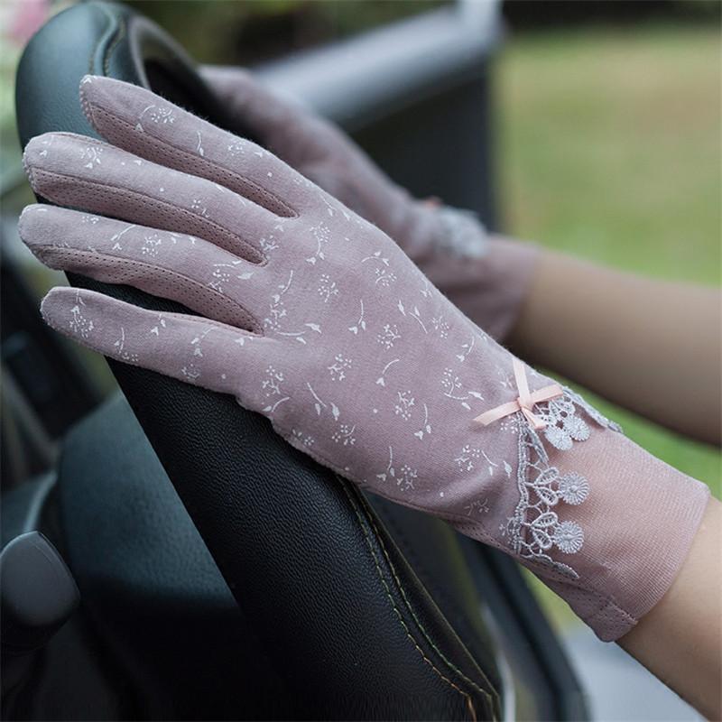 Пять пальцев перчатки женщины сладкий летний солнцезащитный крем женский тонкий чистый хлопок дышащий цветочный короткий вождение анти-уклончики леди Mittens fs16