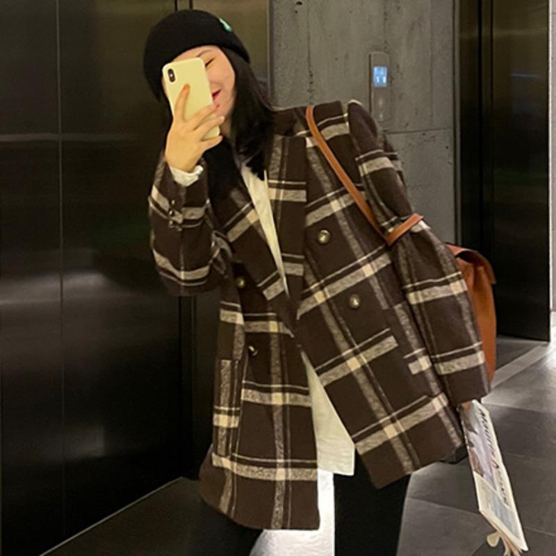 Женская шерстяная смесь 2021 зимний офис Lady мода повседневная территория воротника с длинными рукавами минималистичные панельные плед шерстяные верхние пальмы C84