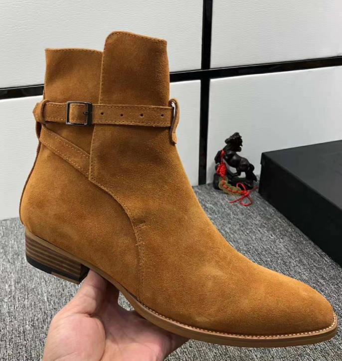 Высокая верхняя замша натуральная кожа Гарри Wyatt Charm Boots Клина SLP Мода Мужчины Классический Черный Красный Коричневый Лордж Ремешок Джинсовые Сапоги