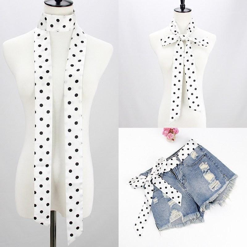 Новая женщина маленький длинный шелковый шарф печатание точек мода волос ленты для девушки сумочка шарф одежда аксессуары японский1