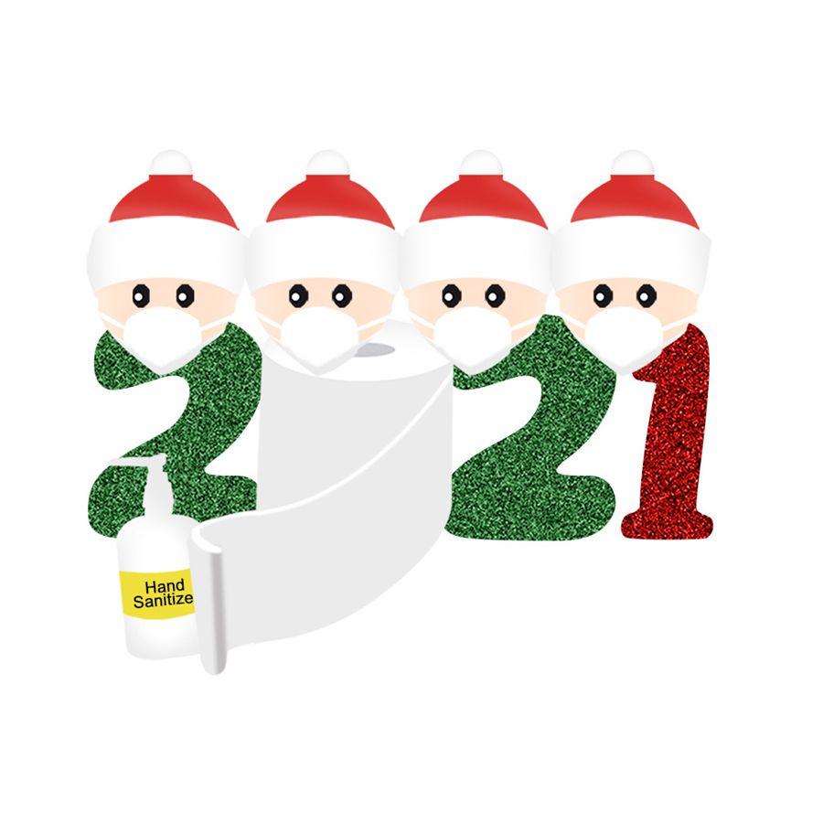 2021 NUOVO personalizzati ornamenti ornamenti Survivor famiglia di 2 Con Maschere mano Sanitized Wall Sticker di Natale della decorazione della casa della famiglia Amore KKA1584