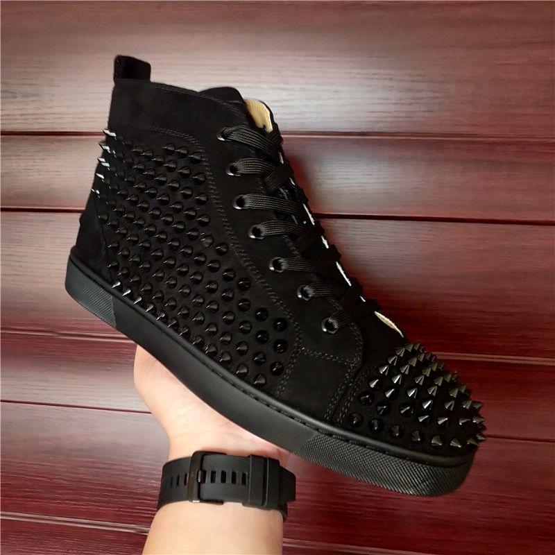 حار بيع 2021 الأحمر أسفل هايت الأعلى الصغار المسامير الشقق أحذية الرجال النساء الأحذية الجلدية أحذية عارضة مع صندوق الغبار حقيبة