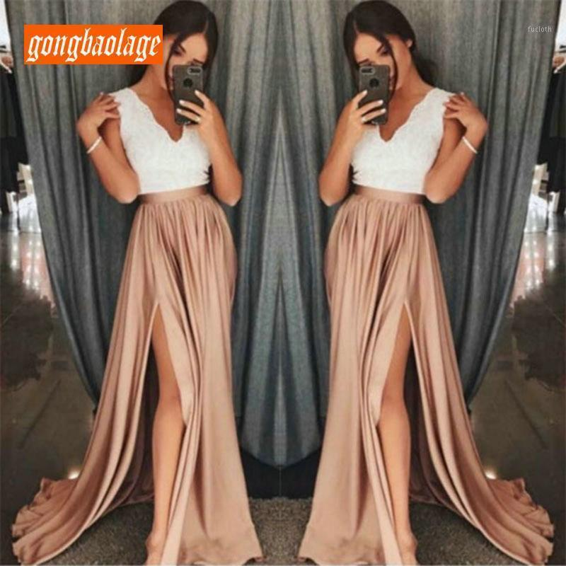 Fashion Women Long Prom Dresses 2019 Formal Dress V-Neck Elastic Satin Lace Zipper Side Slit Floor Length Evening Party Gown New1