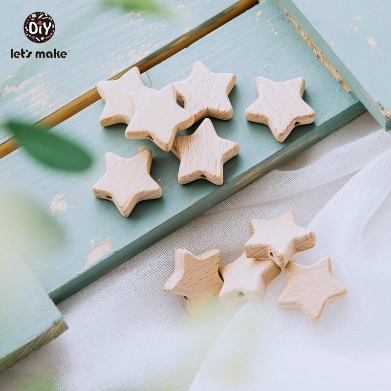 Let's Make Wood Teether 50Pcs Star Shape Wooden Beads Bpa Free Teething Toys Diy Pacifier Chain Beech Wood Bead Baby Teethers 201123