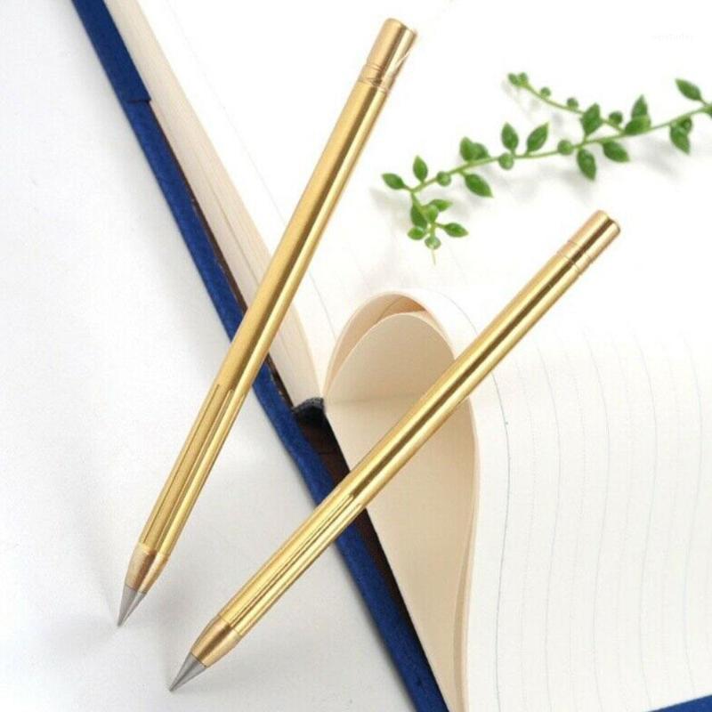 الرجعية النحاس الفانليس القلم النحاس النقي المعادن لا الحبر القلم النحاس هدية ستايلس الأبدية قلم رصاص في الهواء الطلق السفر 1PCS1