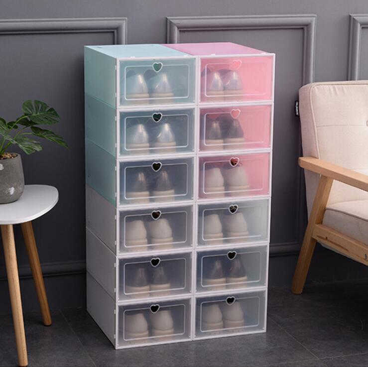 Пластиковой обувь Ящиков закрылки Чистка Box хранение Box Transparent обувь ящик Тип устройство хранение бытовых хранения Утолщенной Галошница GGE2079