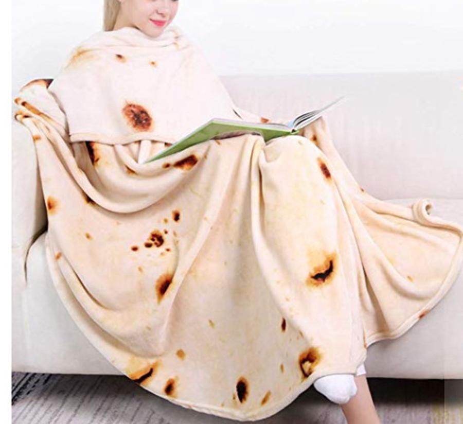 Burritos Tortilla Mantas adultas y niños divertido comida realista alfombra novedad suave franela manta alfombras circulares marítimo envío Lla47
