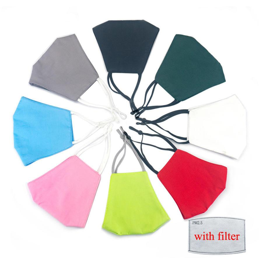 Gesichtsmaske für Männer Frauen Schwarz Grau Pure Farbe Baumwollmaske mit Filter Waschbar Staubdicht Atmungsaktive Mundmasken Für Erwachsene Auf Lager