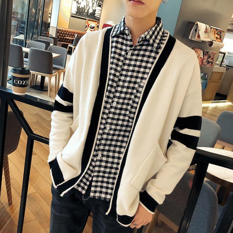 Mode chaud d'hiver d'homme de couleur contrastée V-cou tricotée Veste Hommes Streetwear sauvage Gilet Hommes Manteau Pull