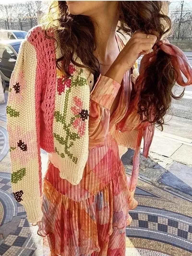 Boho Inspired crocheted floral cardigan for women long sleeve crop cute pink cardigan sweater women knit boho winter cardigan LJ201112
