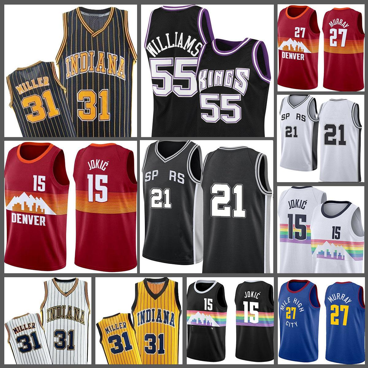 15 Jason Reggie Tim Chris 55 Williams Miller 21 Nikola Webber Jokic Basketball Jersey Mesh Retro 2021 Novo
