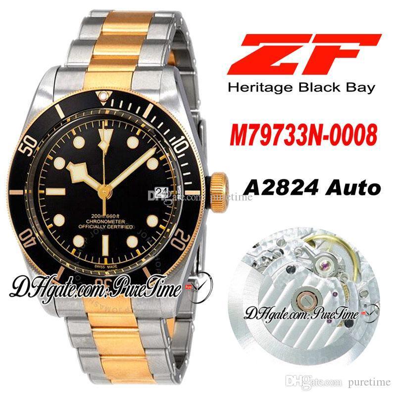 ZF A2824 Otomatik Erkek İzle İki Ton Sarı Altın Siyah Çerçeve Siyah Kadran Paslanmaz Çelik Bilezik En Iyi Baskı ETA PTTD Puretime C04B2