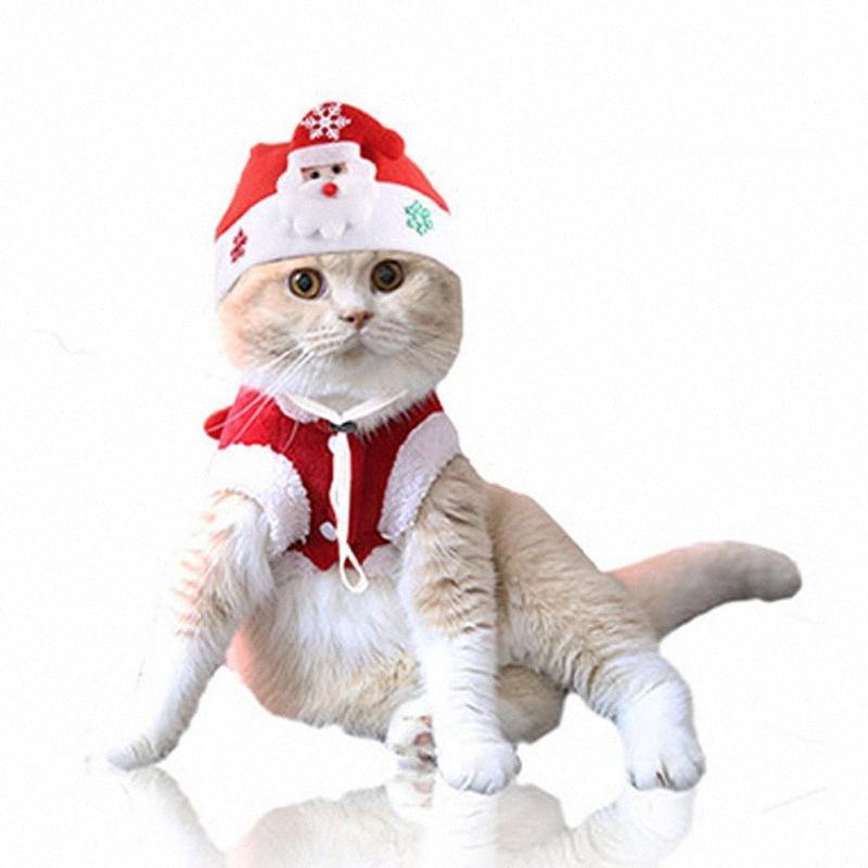 Küçük Orta Büyük Köpekler Noel Şapka Komik Kesim Noel Yılbaşı Elbise Fantezi Elbise Küçük Köpekler Aksesuarları Kırmızı Başlıklı U6jK #