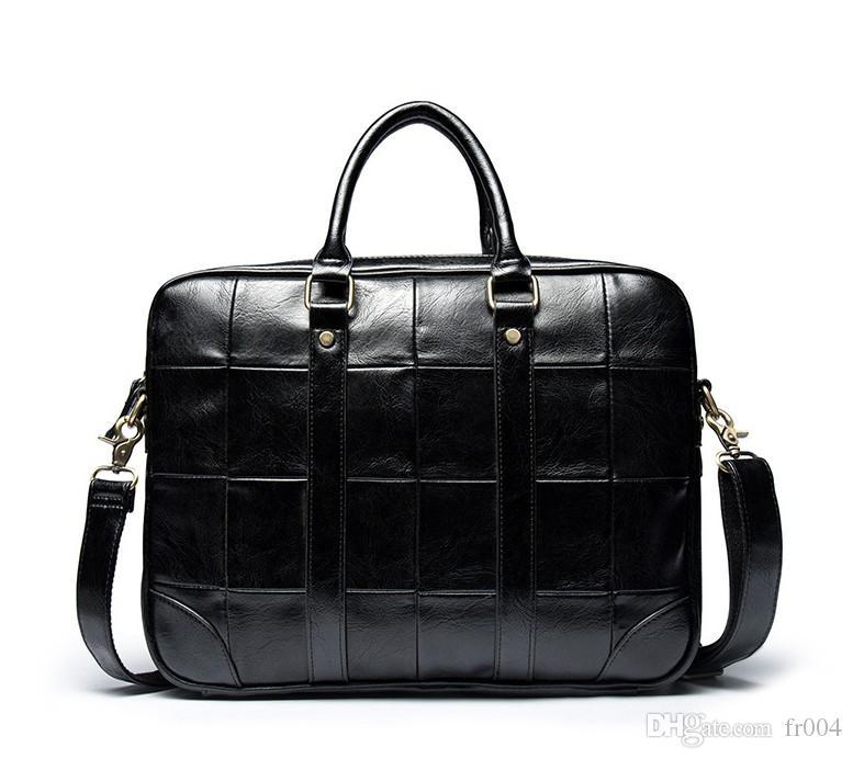 Nuovo di alta qualità computer portatile della cartella di cuoio di cuoio strato di borsa superiore di spalla casuale diagonale grande borsa di affari degli uomini