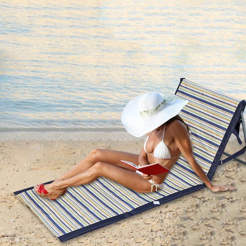 Compacte et légère Plage Portable Tapis de Sol Chaise pliante étanche pour extérieur Chaise longue dossier Camping 143 * 55cm