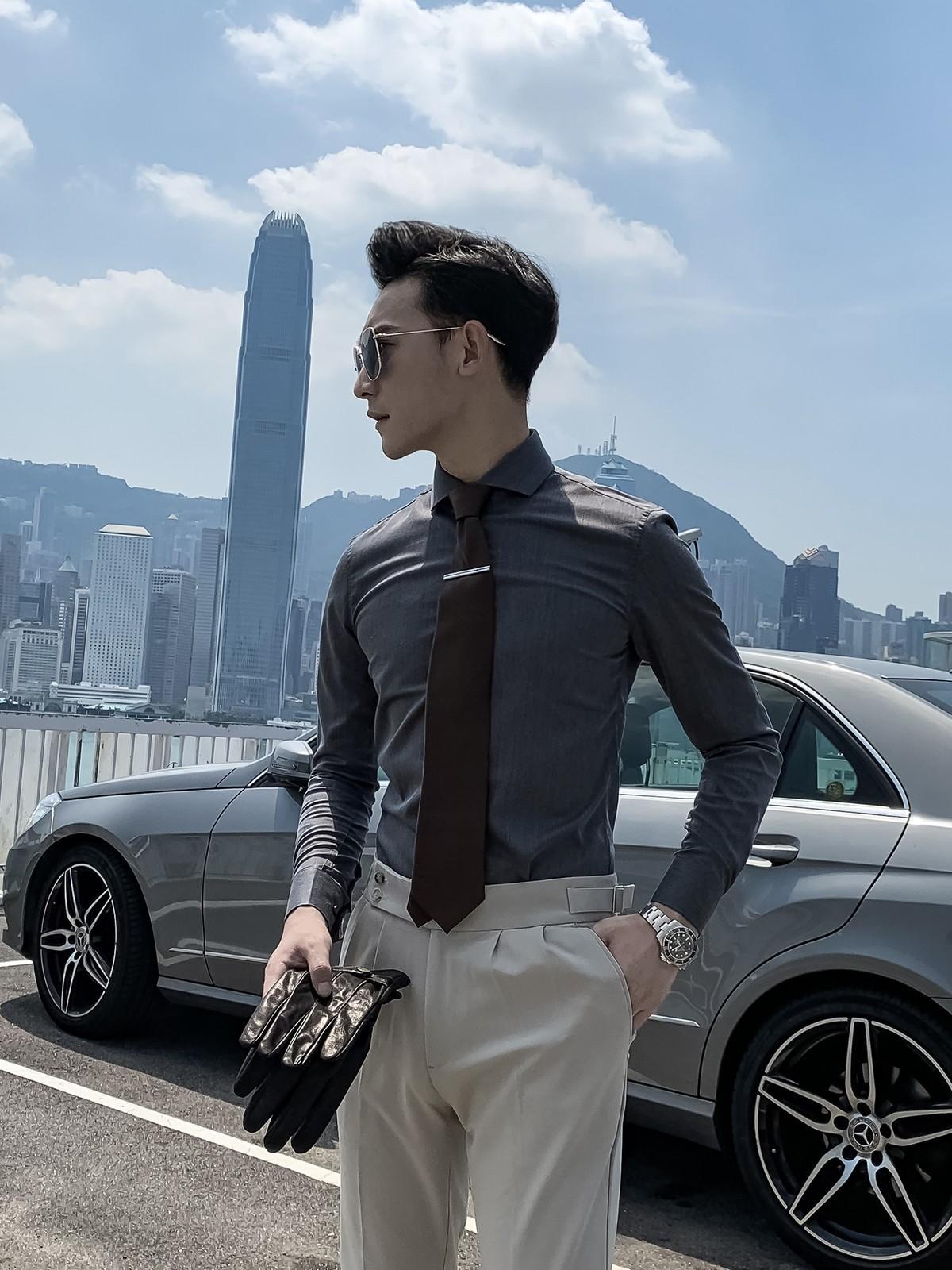 Daio Mens Francese Windsor coreano una lettera collare di struttura di temperamento della camicia a maniche lunghe uomini britannici
