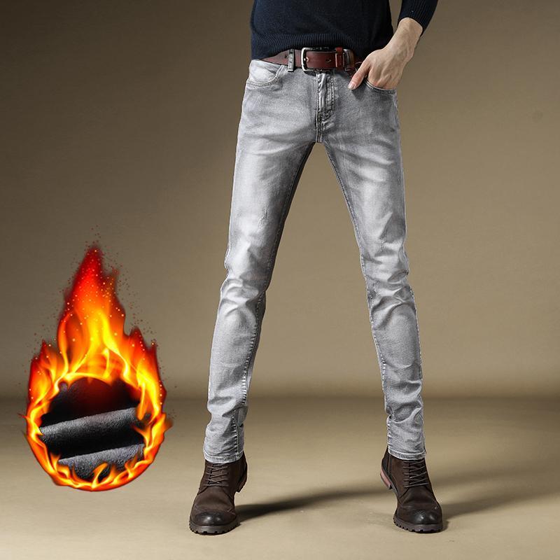 جينز رجالي 2021 الشتاء الدافئ يتأهل للأزياء الأعمال رشاقته الدنيم السراويل الصوف تمتد السراويل رمادي