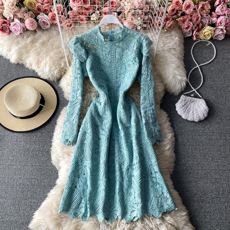 Повседневные платья Летние ретро и элегантные плиссированные оборки сточные воротник платье женское крючок цветок высокое качество все-матч кружевная A-line