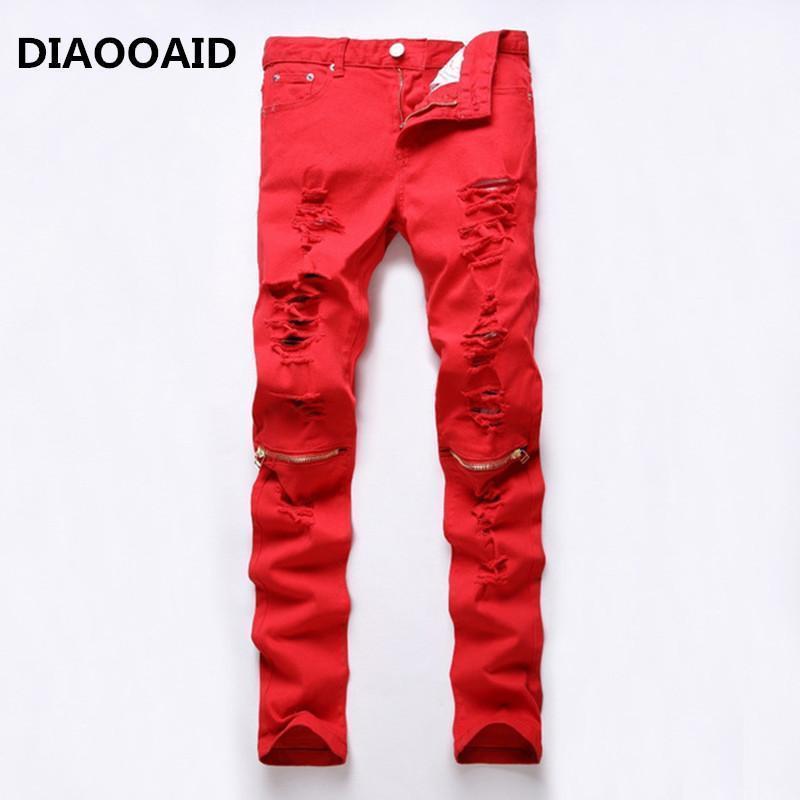 2017 High Street Moda Hotsale Joelho Zipper Homens Jeans Destruído Furo Ragged Hole Male Club Denim Tecido Stretch Calças 4 Cores1