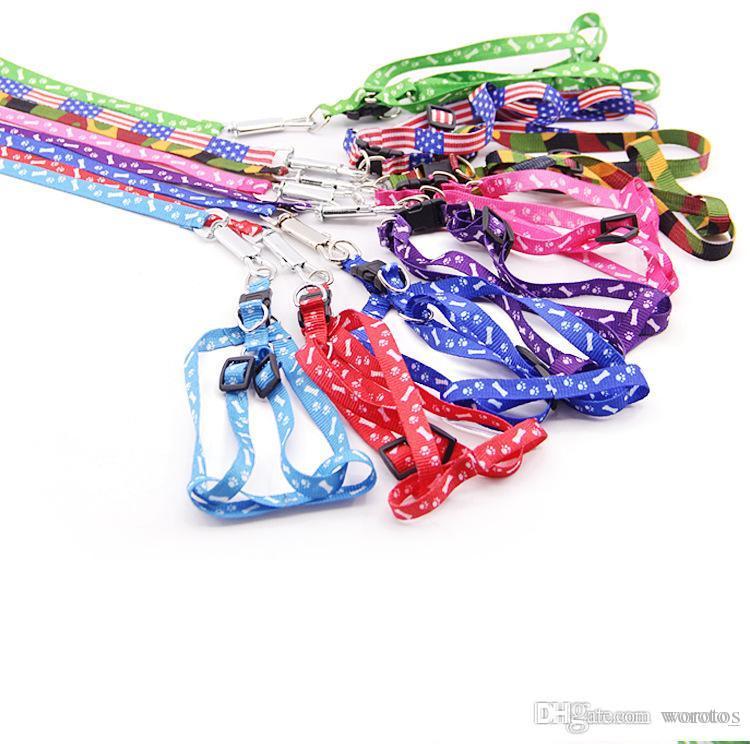 Impreso para mascotas correo del arnés ajustable cuerda del perro de perrito del gato Suministros para mascotas para perros pequeños 1 * 120cm