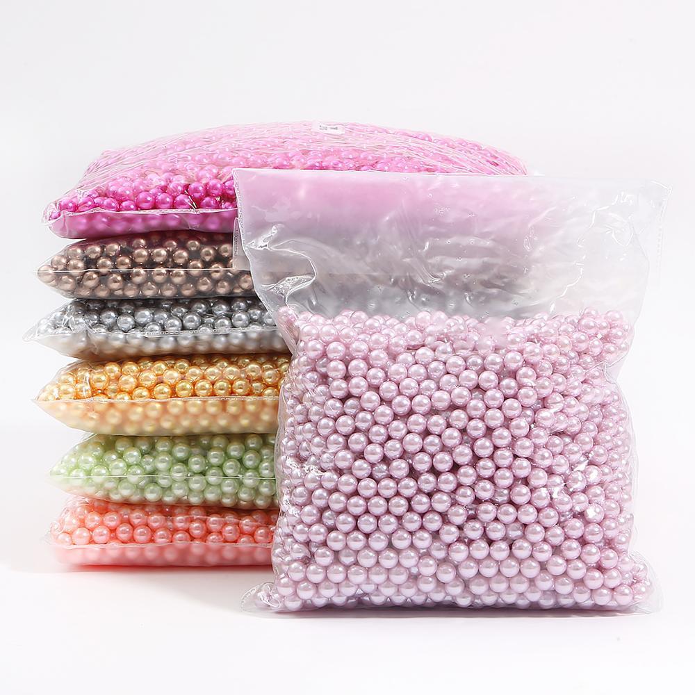 500g / set 3/4/6/8 / 10mm Multi Colore No Hole Acrylic imitazione perla perline Perline sparse per DIY Scrapbook Decoration Crafts Fare